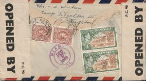 1943  JAMAICA - GB...WW2 REGISTERED CENSORED AIRMAIL GIBRALTAR CAMP EVACUEE to DUTCH FREE FORCES...