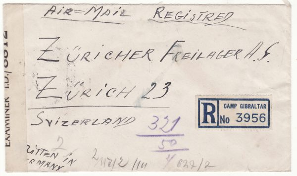 1944  JAMAICA - SWITZERLAND...WW2 REGISTERED CENSORED AIRMAIL GIBRALTAR CAMP...