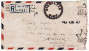 4001942   JAMAICA - MOROCCO...WW2 REGISTERED CENSORED AIRMAIL GIBRALTAR CAMP to TANGIER...