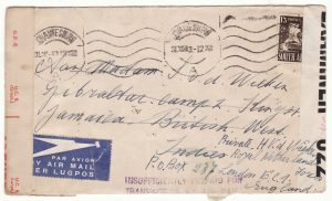 1943 SOUTH AFRICA - JAMAICA - GB...WW2 CENSORED AIRMAIL to GIBRALTAR CAMP & FORWARDED to DUTCH FREE FORCES...