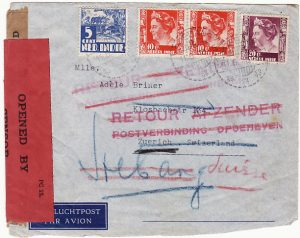 N.E.I.-SWITZERLAND [WW2 DOUBLE CENSORED RETURNED TO SENDER]