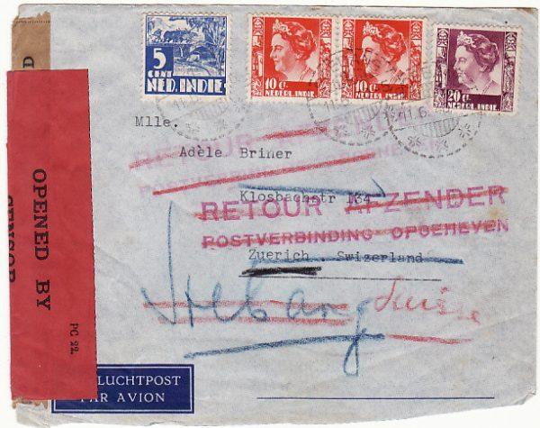 N.E.I.-SWITZERLAND [WW2 DOUBLE CENSORED RETURNED TO SENDER]