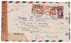 1943  PERU - GB - SPAIN..WW2 UNDERCOVER MAIL forwarded BRITISH EMBASSY SPAIN..