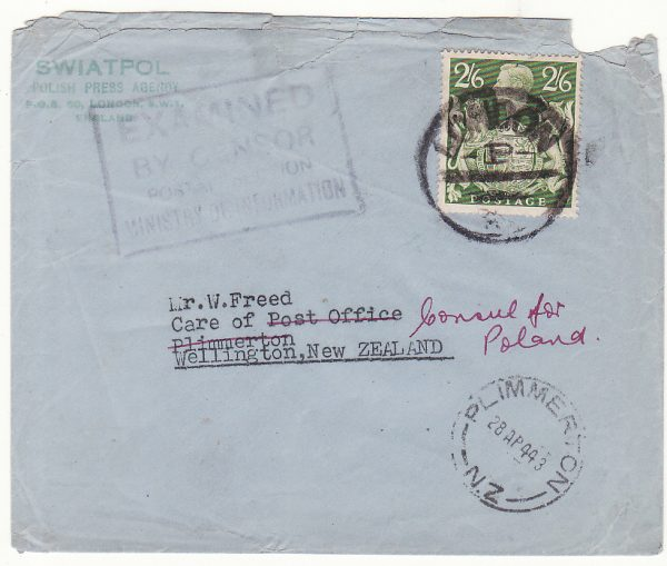 1943 GB - NEW ZEALAND....WW2 POLISH PRESS to CARE OF P.O. N.Z & forwarded CONSUL FOR POLAND…