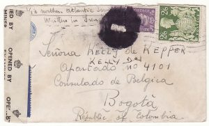 1943 GB - COLOMBIA..WW2 FREE BELGIAN FORCES to BELGIAN CONSULATE in BOGOTA..