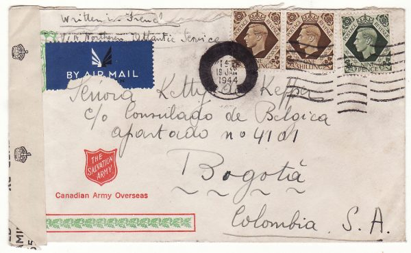 1944 GB - COLOMBIA..WW2 FREE BELGIAN FORCES to BELGIAN CONSULATE in BOGOTA..
