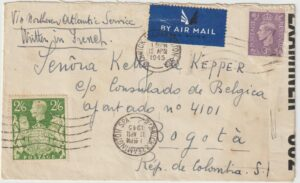 1945 GB - COLOMBIA..WW2 FREE BELGIAN FORCES to BELGIAN CONSULATE in BOGOTA..