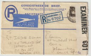 1944  SOUTH AFRICA -  GB…WW2 REGISTERED CENSORED AIRMAIL to UNDERCOVER ADDRESS..