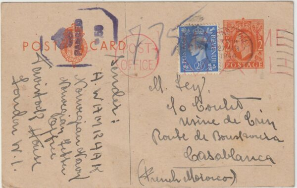 1944   GB - MOROCCO..WW2 GB from NORWEGIAN FREE FORCES UNDERCOVER ADDRESS…