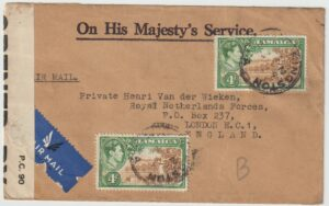 1944  JAMAICA - GB…WW2 OHMS  UNDERCOVER MAIL from THE JAMAICA DEFENCE…