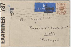 GB - PORTUGAL… WW2 POLISH FORCES UNDERCOVER ADDRESS..