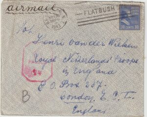 1943  USA - GB...WW2 DUTCH FORCES UNDERCOVER ADDRESS...