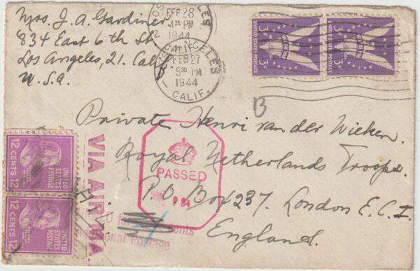 1944  USA - GB...WW2 DUTCH FREE FORCES UNDERCOVER ADDRESS...