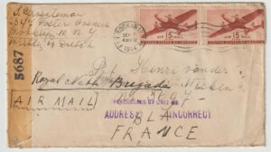 1944 USA - FRANCE...WW2 DUTCH FREE FORCES UNDERCOVER ADDRESS