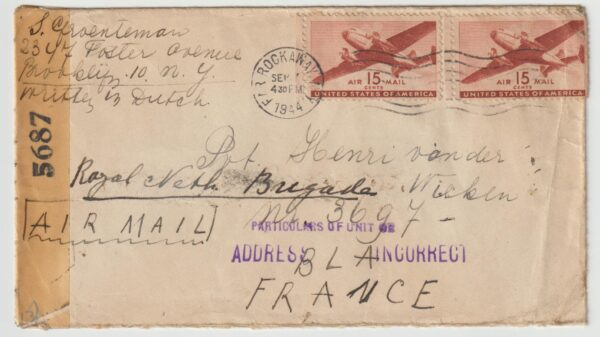 1944 USA - FRANCE...WW2 DUTCH FREE FORCES UNDERCOVER ADDRESS