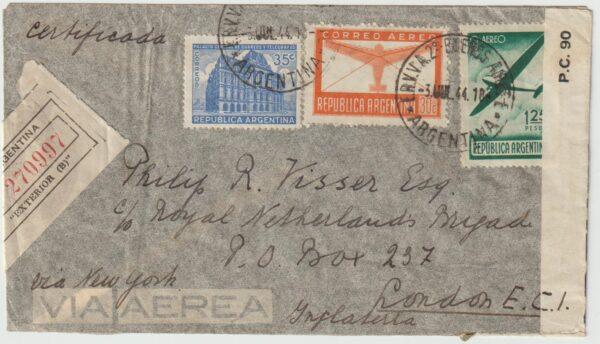 1944   ARGENTINA - GB...WW2 DUTCH FREE FORCES UNDERCOVER ADDRESS...