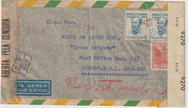 1943  Brazil - GB...WW2 DUTCH FORCES UNDERCOVER ADDRESS...