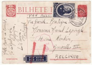 1945  PORTUGAL - BELGIUM…WW2 LEGATION via GB with AIR CANCELLED…