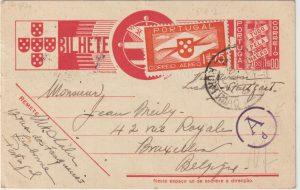 Letter, 1940 PORTUGAL - BELGIUM…WW2 UNDERCOVER