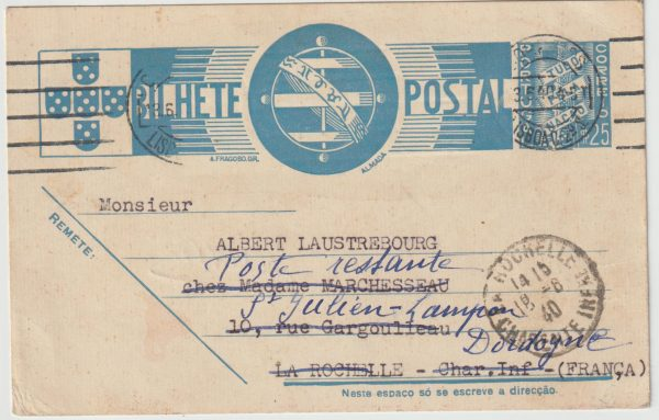 1940  PORTUGAL - FRANCE…WW2 FORWARDED to POST RESTANTE ADDRESS..