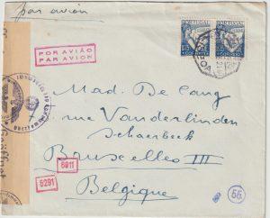 1943  PORTUGAL - BELGIUM…WW2 UNDERCOVER MAIL ..
