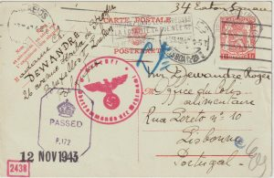 1943  BELGIUM - PORTUGAL - GB..WW2 DOUBLE CENSORED UNDERCOVER MAIL for GB..