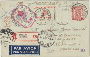 1942  BELGIUM - PORTUGAL - GB..WW2 REGISTERED DOUBLE CENSORED AIRMAIL STAT. CARD..