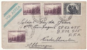 1951  ARGENTINA - GERMANY…POST WW2 FRENCH MILITARY OCCUPATION FORCES…