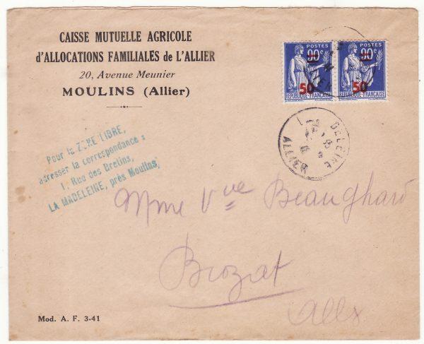 1941 FRANCE…CAISSE MUTUELLE AGRICOLE d'ALLOCATIONS FAMILIALES de L'ALLIER…