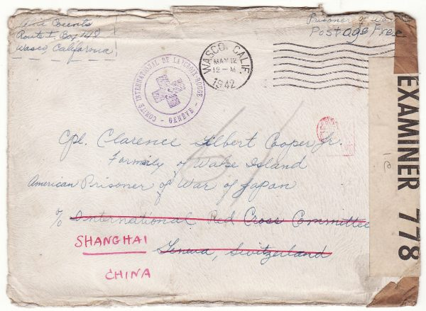 1942..USA - SWITZERLAND - CHINA…WW2 JAPANESE POW EX WAKE ISLAND CENSORED BERMUDA..