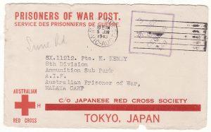 1943..AUSTRALIA - MALAYA... POW & LETTER DELIVERED JUN 1944...