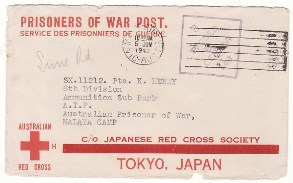 1943..AUSTRALIA - MALAYA... POW & LETTER DELIVERED JUN 1944...