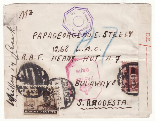 1943  EGYPT - RHODESIA…GREEK FORCES & DOUBLE CENSORED…