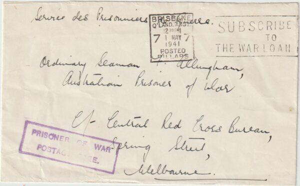 1941   AUSTRALIA...WW2 NAVAL POW MAIL