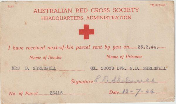 1944  GERMANY - AUSTRALIA…WW2 AUST. RED CROSS PARCEL CARD..