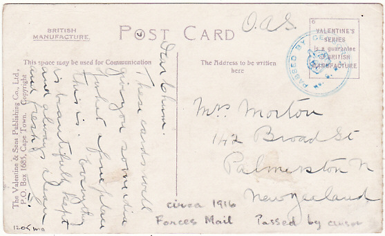 SOUTH AFRICA-NEW ZEALAND [WW1 NZ TROOPSHIP MAIL]