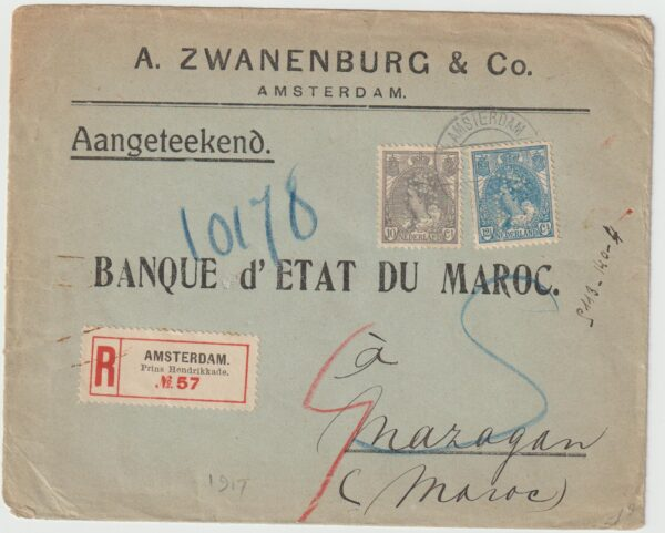 1917  NETHERLANDS - MOROCCO…WW1 INTERCEPTED in FRANCE as SUSPICIOUS MAIL...