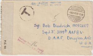 1945  GOLD COAST - USA..WW2 CENSORED & TAXED...