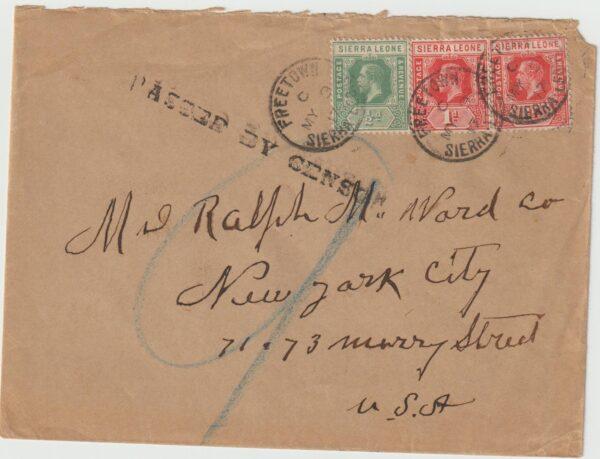 1917  SIERRA LEONE - USA ..WW1 CENSORED..