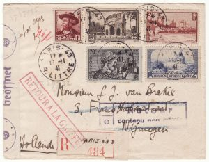 1941  FRANCE - NETHERLANDS…WW2 REGISTERED CENSORED & NOT ADMISSIBLE