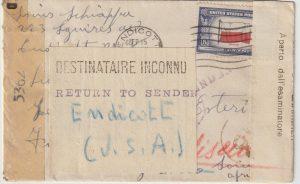1944  USA - ITALIAN SOMALILAND..WW2 CENSORED & RETURNED TO SENDER..