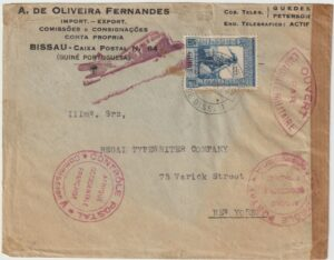 1939   PORTUGUESE GUINEA - USA…CENSORED BY FRENCH..