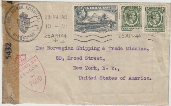 1944 GIBRALTAR - USA…NORWEGIEN CONSULAR MAIL with CODED BAR & DOT asking can I OPEN IT…