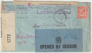 1916  GB - USA…WW1 OPENED BY CENSOR-RETURN TO SENDER..