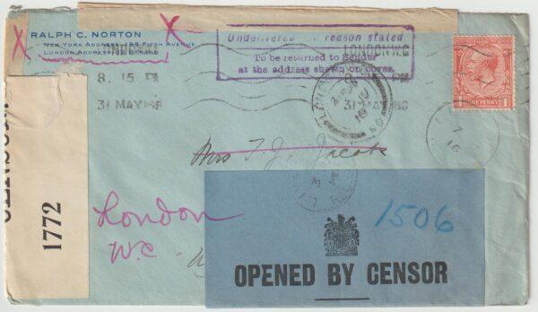 1916  GB - USA…WW1 OPENED BY CENSOR-RETURN TO SENDER..