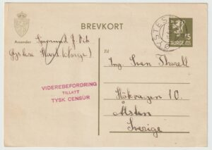 1940 1940   NORWAY - SWEDEN..WW2 GERMAN CENSORSHIP at OSLO..