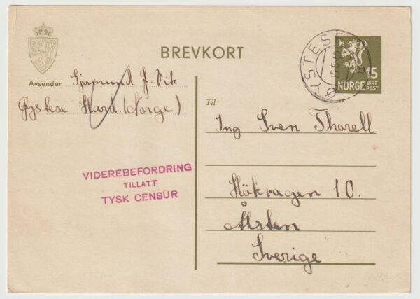 1940 1940   NORWAY - SWEDEN..WW2 GERMAN CENSORSHIP at OSLO..