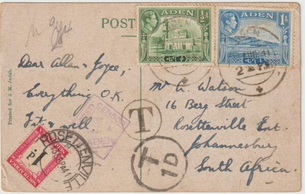 1941  ADEN - SOUTH AFRICA..WW2 CENSORED & TAXED POSTCARD with POSTAGE DUE..
