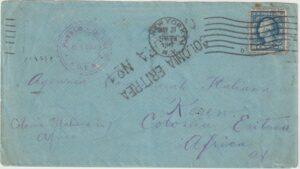 1917   USA - ERITREA…WW1 ITALIAN COLONIES CENSORED  ADEN & ERITREA & RETURNED...