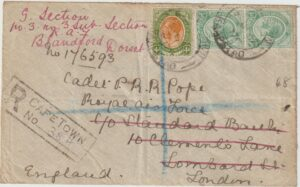 1918  SOUTH AFRICA - GB…WW1 REGISTERED to R.A.F. UNIT..